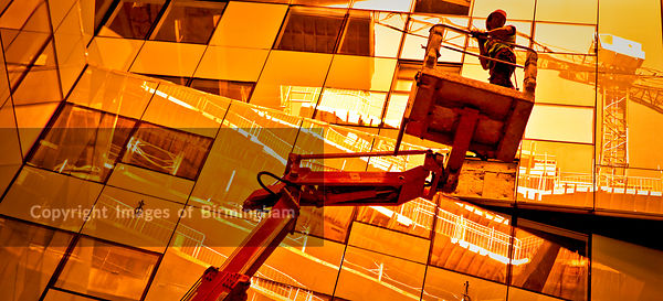 Construction on the Cube building in Birmingham, West Midlands.