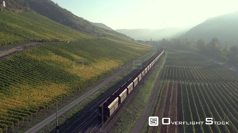 Train Moving Through a German Countryside