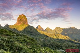 Mountain peak at sunrise in the island of Moorea, French Polynesia