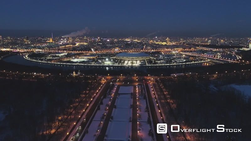 Moscow Russia Drone Video. Universitetskaya Square, Moskva to Luchniki Stadium.