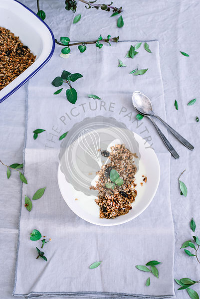 Homemade granola in a white kitchen