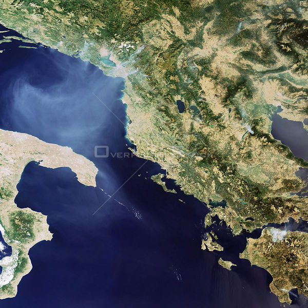 EARTH Greece -- 26 Jul 2007 -- This satellie image shows extensive forest fires on the Balkan Peninsula, mostly in Greece