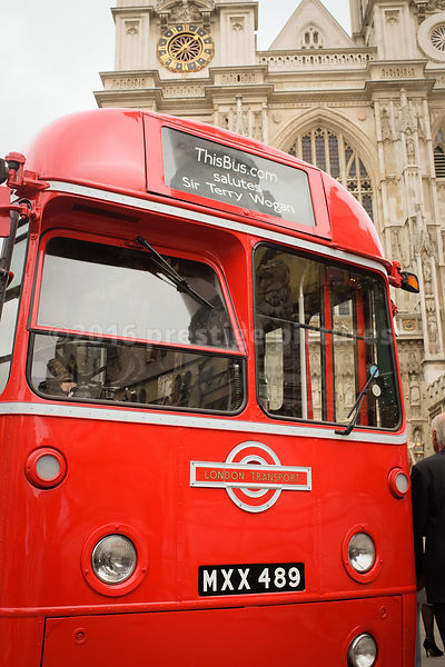 Chartered Vintage Red Bus Outside Westminster Abbey for the Terry Wogan Memorial Service