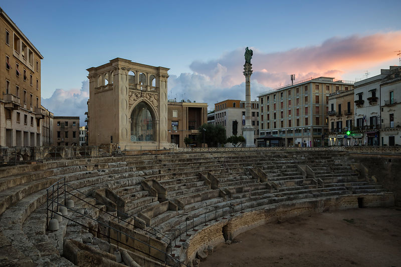 Roman Theatre at Piazza Sant'Oronzo at Dawn