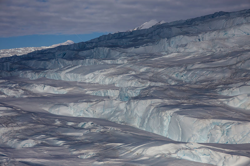 Aerial view of Dugdale Glacier, Pennell Coast, Ross Sea, North Victoria Land, Antarctica. February 2017..
