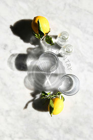 Lemon and water in the sunlight