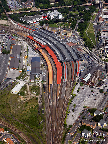 aerial photograph of York Railway Station  , York England UK