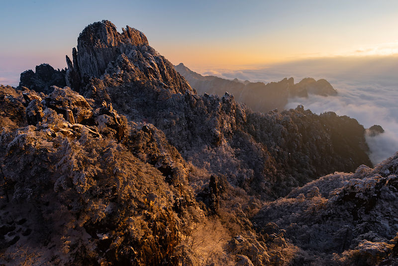 Aerial View of the Huangshan Mountains and a Sea of Clouds at Sunrise