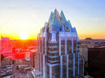 Frost Tower Drone Video Downtown Austin Texas USA