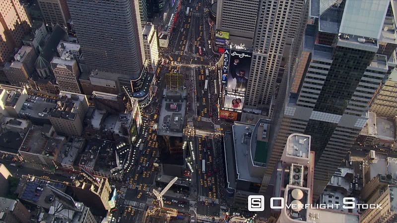Evening flight over Times Square in New York City