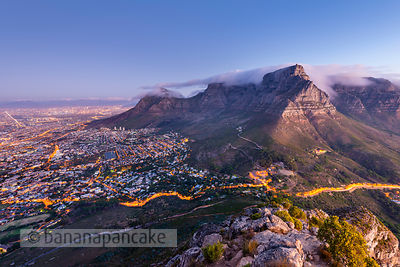 Table Mountain and the City Bowl at dusk from Lion's Head