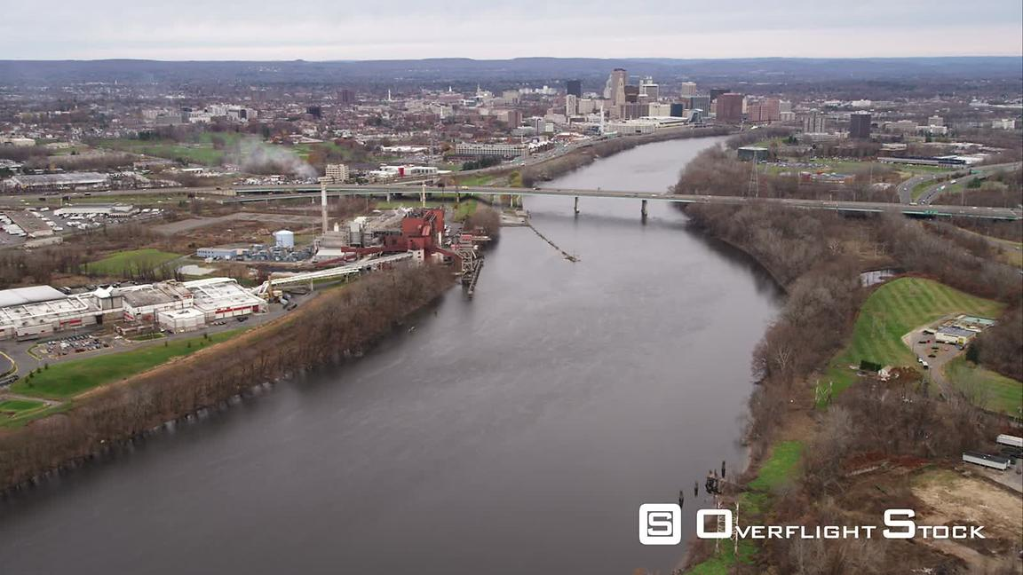 Over Connecticut River, Approaching Hartford, Connecticut. Shot in November