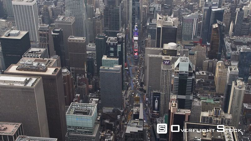 Flying over Midtown Manhattan, looking down at Times Square.
