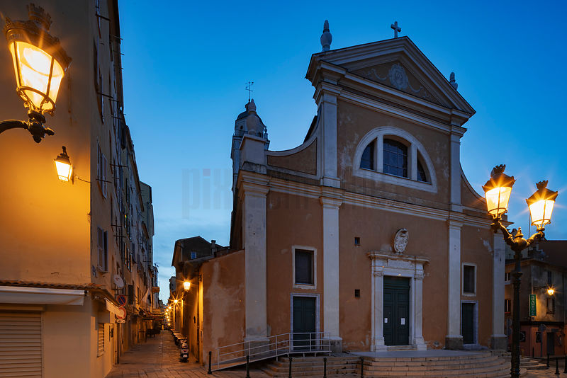 The Venetian Rennaissance Facade of the Ajaccio Cathedral at Dawn