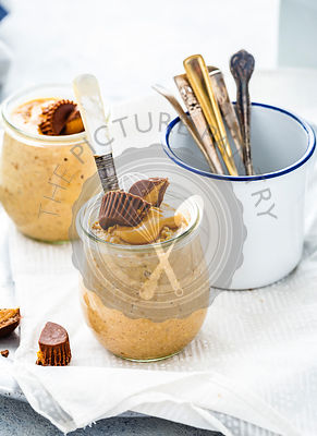 Peanut Butter Overnight Oats served in a jar