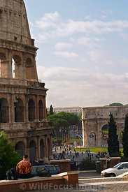 The Colosseum and Arch of Constantine from the viewing point at the end of Via del Annibaldi, Rome, Italy; Portrait