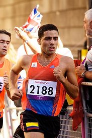 Elkin Alonso Serna Moreno ran for Colombia in the T12 Marathon at the London Paralympic Games