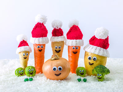 Vegetables with santa hat