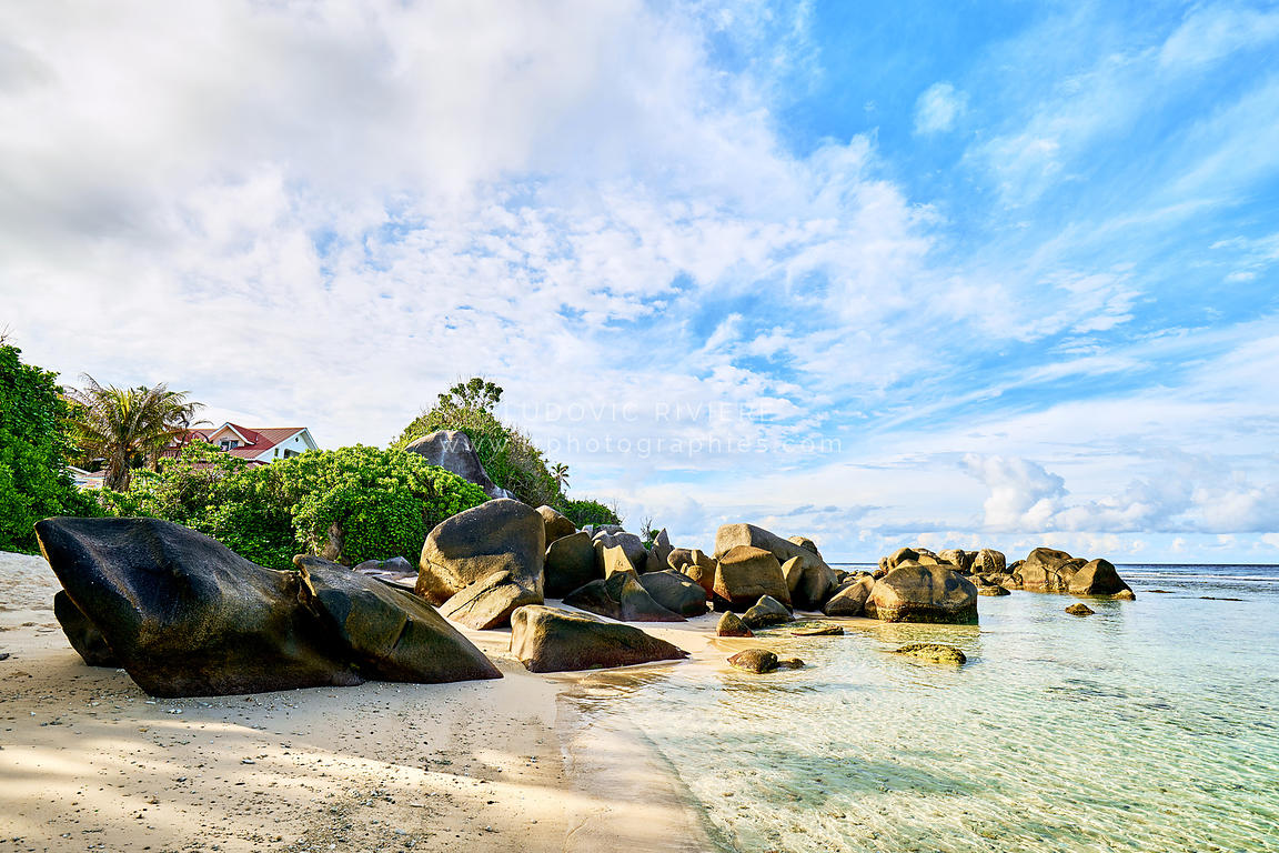 tropical beach Anse Nord Est in the north of Mahe, Seychelles beach