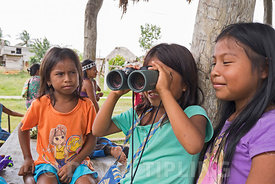 Emberå girls at Nuevo Vigia looking through binoculars at birds Panama