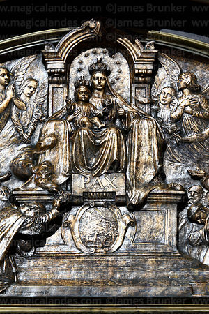 Detail of bronze relief of Our Lady of Peace / Nuestra Señora de La Paz on tympanum above main entrance of cathedral, La Paz, Bolivia