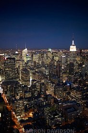 Aerial photograph at night of midtown New York City