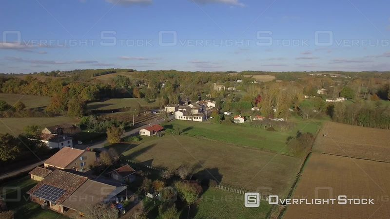 Aerial View of the Surroundings at La Salvetat-belmontet Village, Filmed by Drone, France