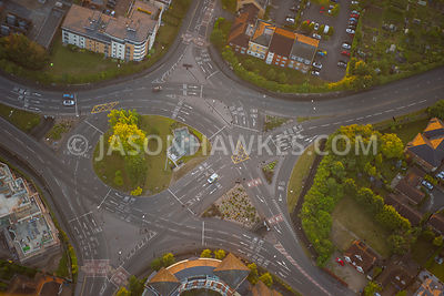 Aerial view of roundabout in Windsor