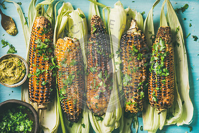 Flat-lay of grilled sweet corn with spices