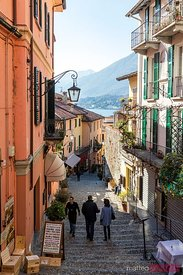 Tourists in the streets of Bellagio, lake Como, Italy