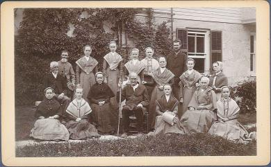 Portrait of Elder Frederick W. Evans and a group of Shakers