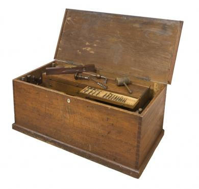 1950.1134.1a,b - Chest, Tool - Tool chest used by Brother George M. Wickersham, Church Family, Mount Lebanon, NY