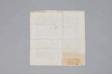 Linen handkerchief given to Elder Henry C. Blinn by Sister Sarah Dean, Canterbury, NH