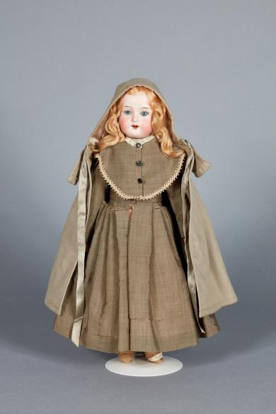 Doll dressed in Shaker costume by Sister Jennie Wells, Hancock, MA