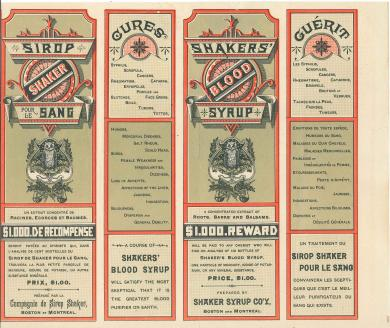 Box label for Shaker Blood Syrup