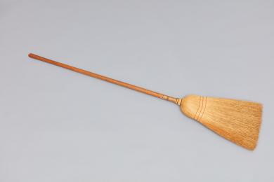 Broomcorn broom with maple handle bearing label of Elder Robert Valentine, Church Family, Mount Lebanon, NY