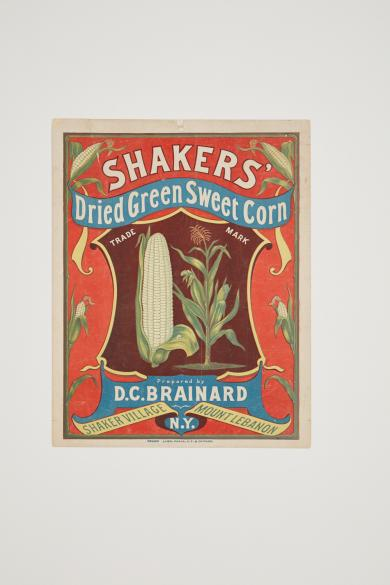Advertising poster for Shakers Dried Sweet Corn, Mount Lebanon, NY