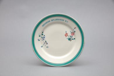 1958.10594.1 - Plate, Dessert - Dessert plate inscribed