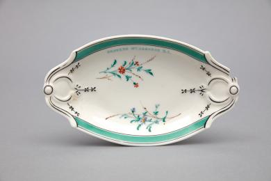 1960.11416.1 - Dish, Serving - Porcelain serving dish inscribed