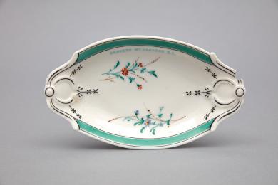 1960.11416.1 - Dish, Serving - Porcelain serving dish inscribed