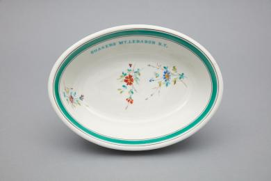 1960.11417.1 - Dish, Serving - Porcelain serving dish inscribed