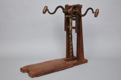 Timber-frame mortise drill made by Brother Richard Woodrow, Mount Lebanon, NY, 1851
