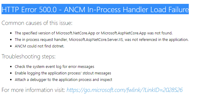 HTTP Error 500.0 - ANCM In-Process Handler Load Failure