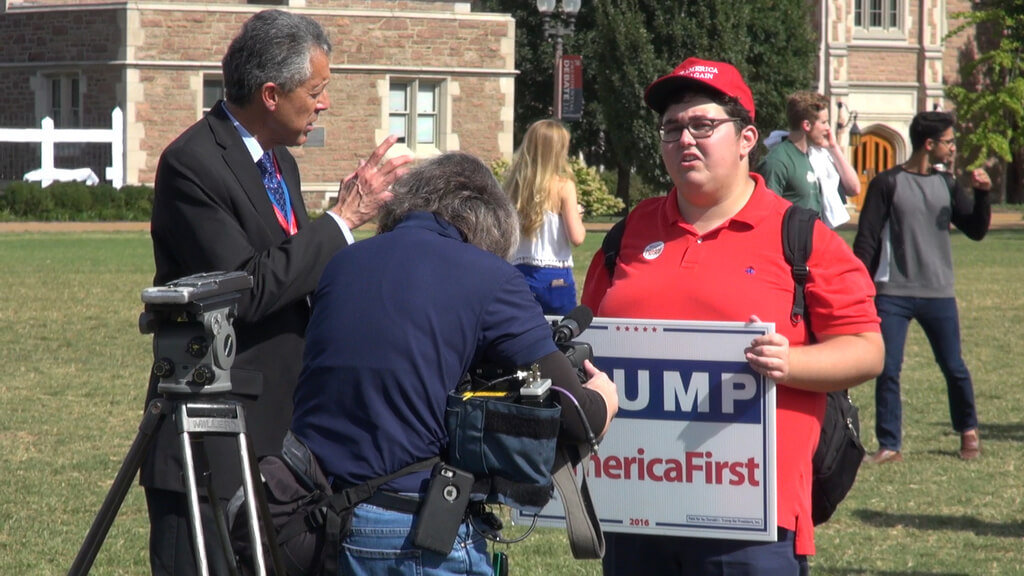 College Republicans clash with Trump supporters before Washington University debate