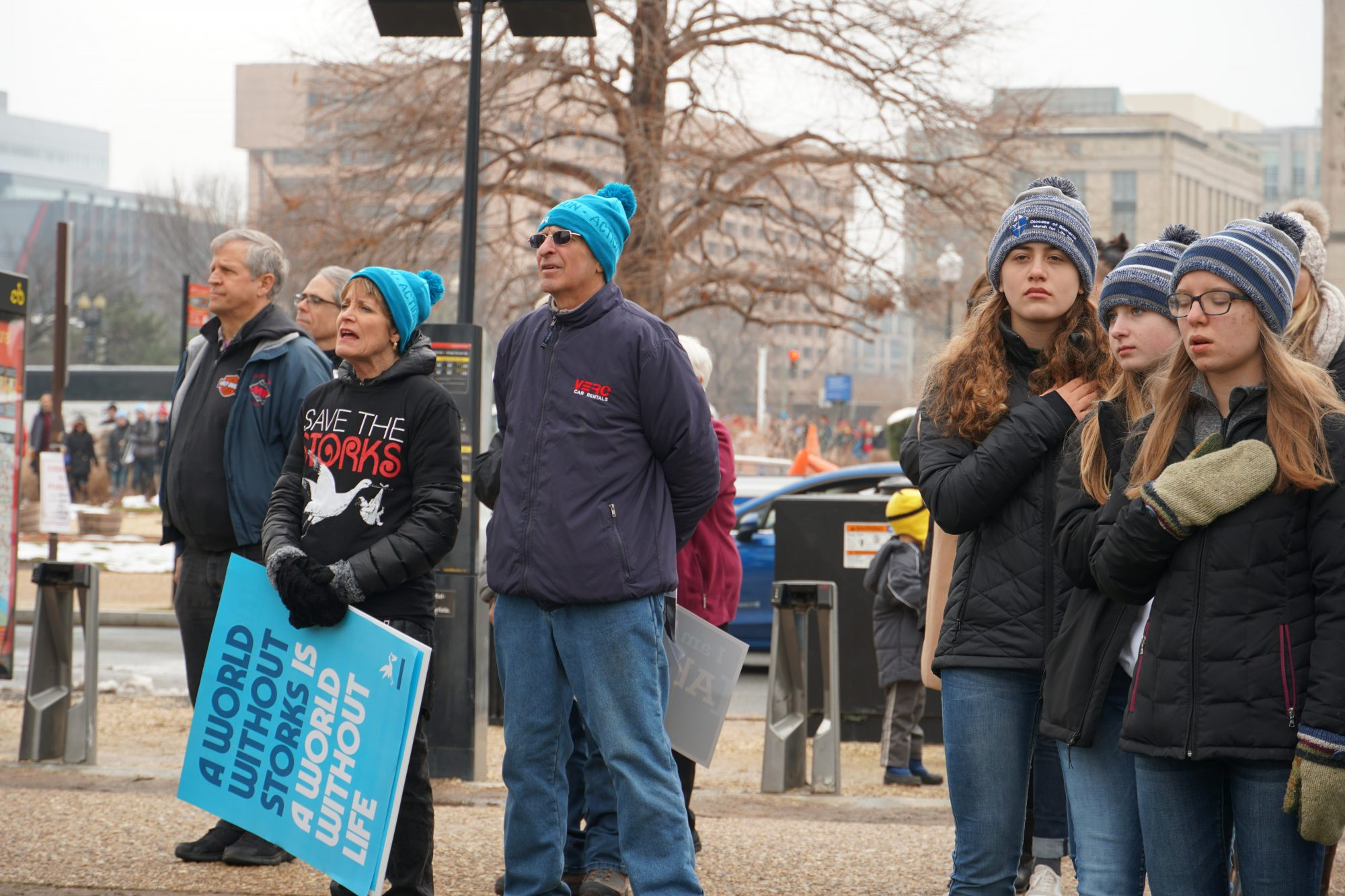 People said the Pledge of Allegiance and sang the National Anthem at the rally before the March for Life. (Ester Wells/MNS)