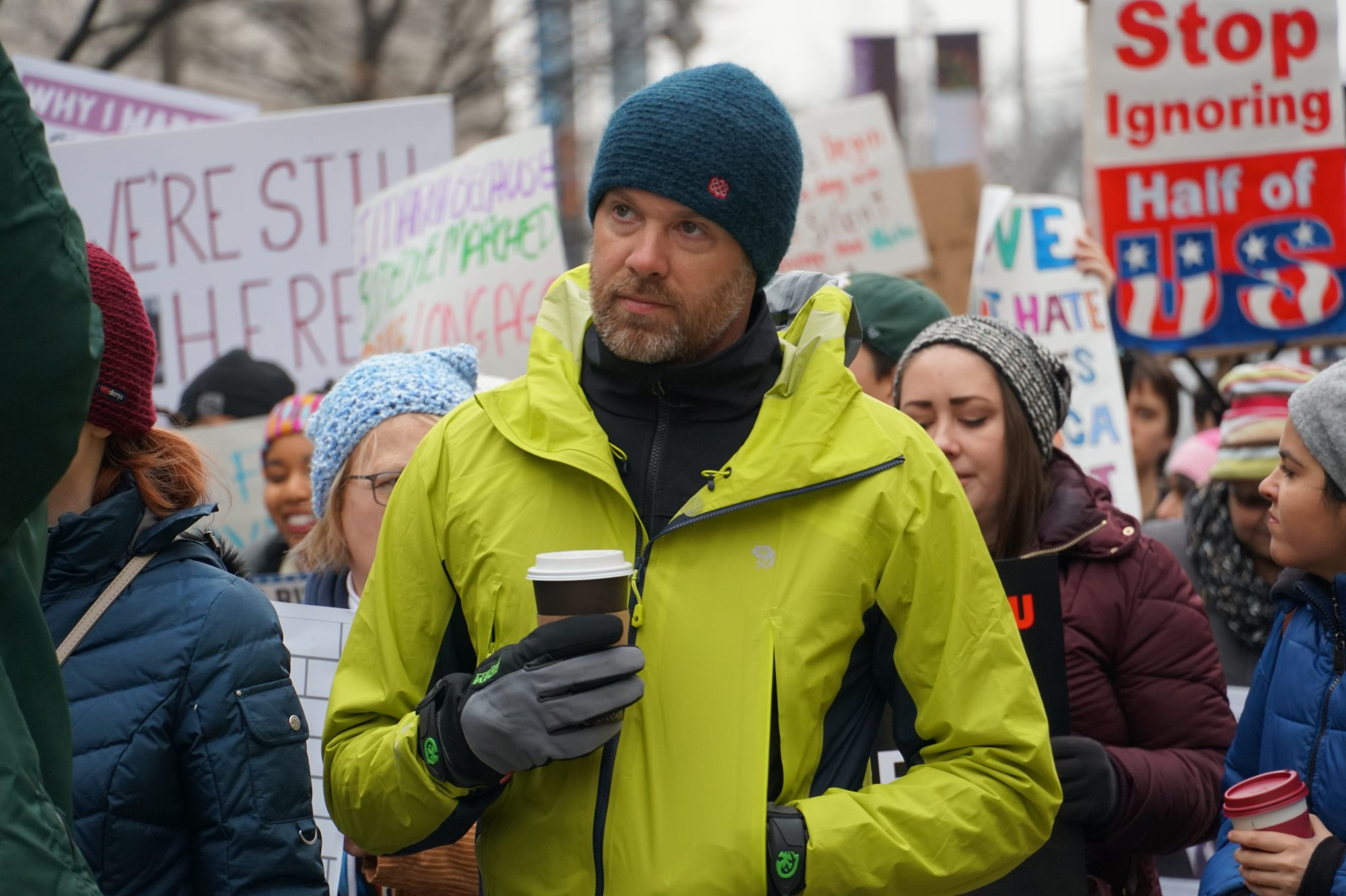 Men were present at the Women's March as well but were noticeably less vocal. (Ester Wells/MNS)