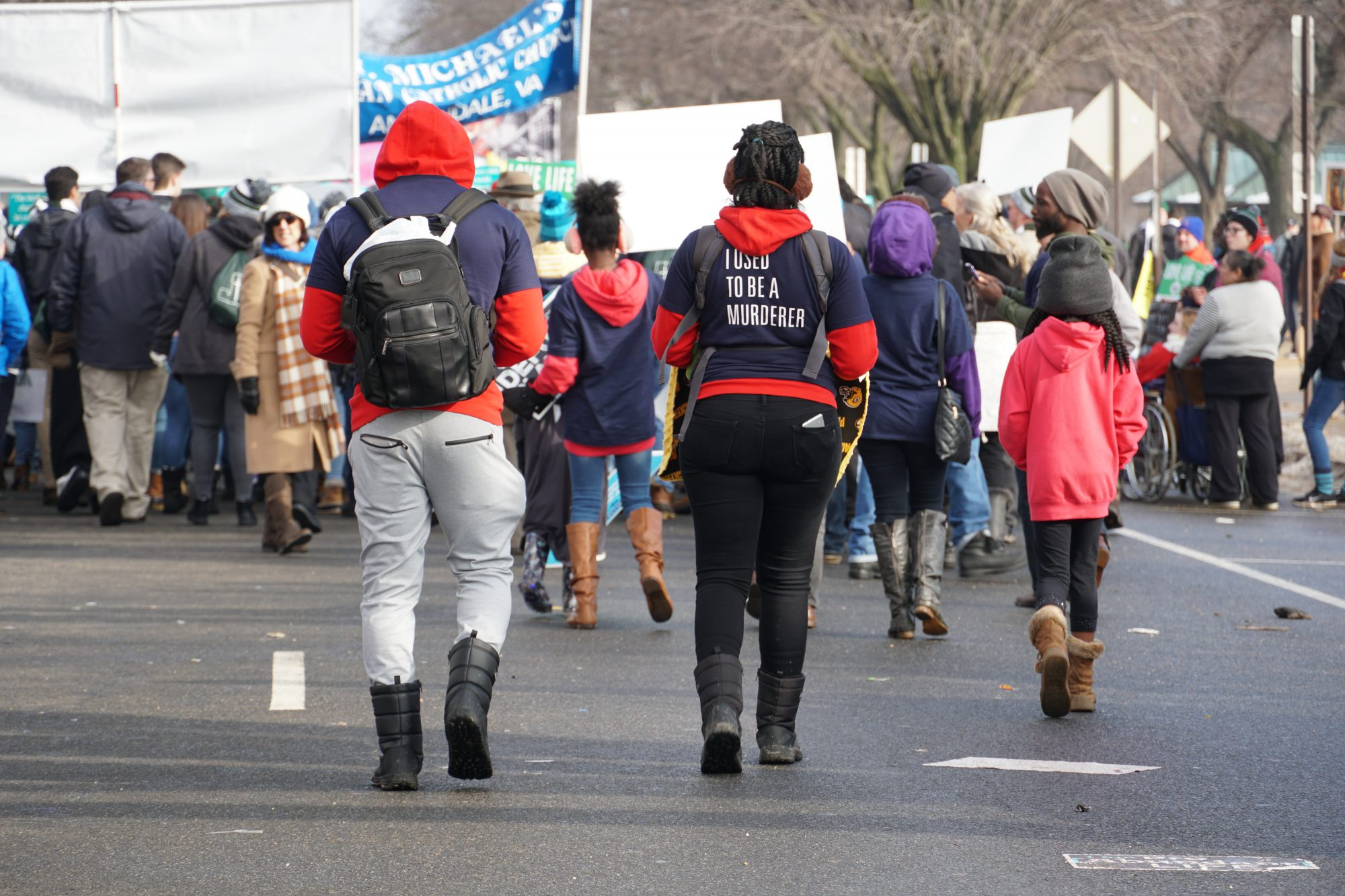 The woman whose views on abortion changed walked with her family at the end of the march. (Ester Wells/MNS)