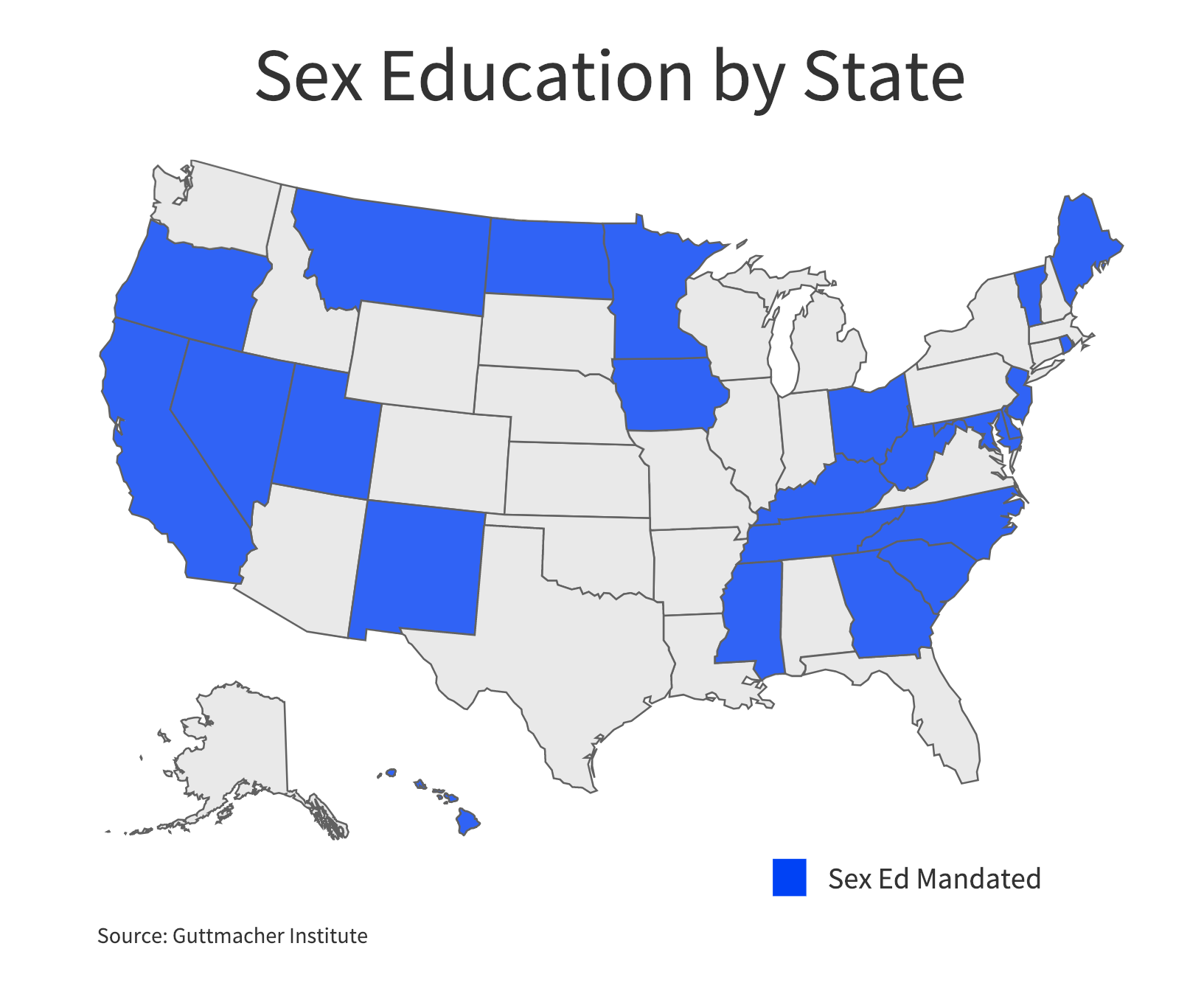 Twenty-four states and the District of Columbia mandate sexual education. (Charts by Ester Wells/MNS)