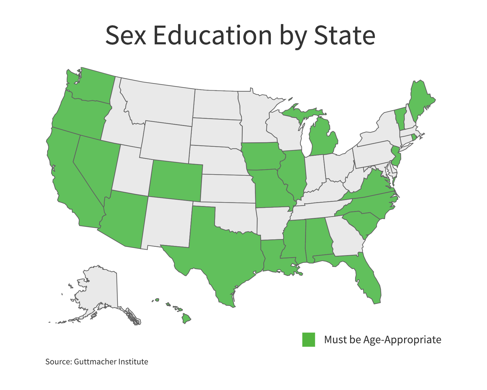 Twenty-three states and the District of Columbia require that when sexual education is provided it be age-appropriate. (Charts by Ester Wells/MNS)