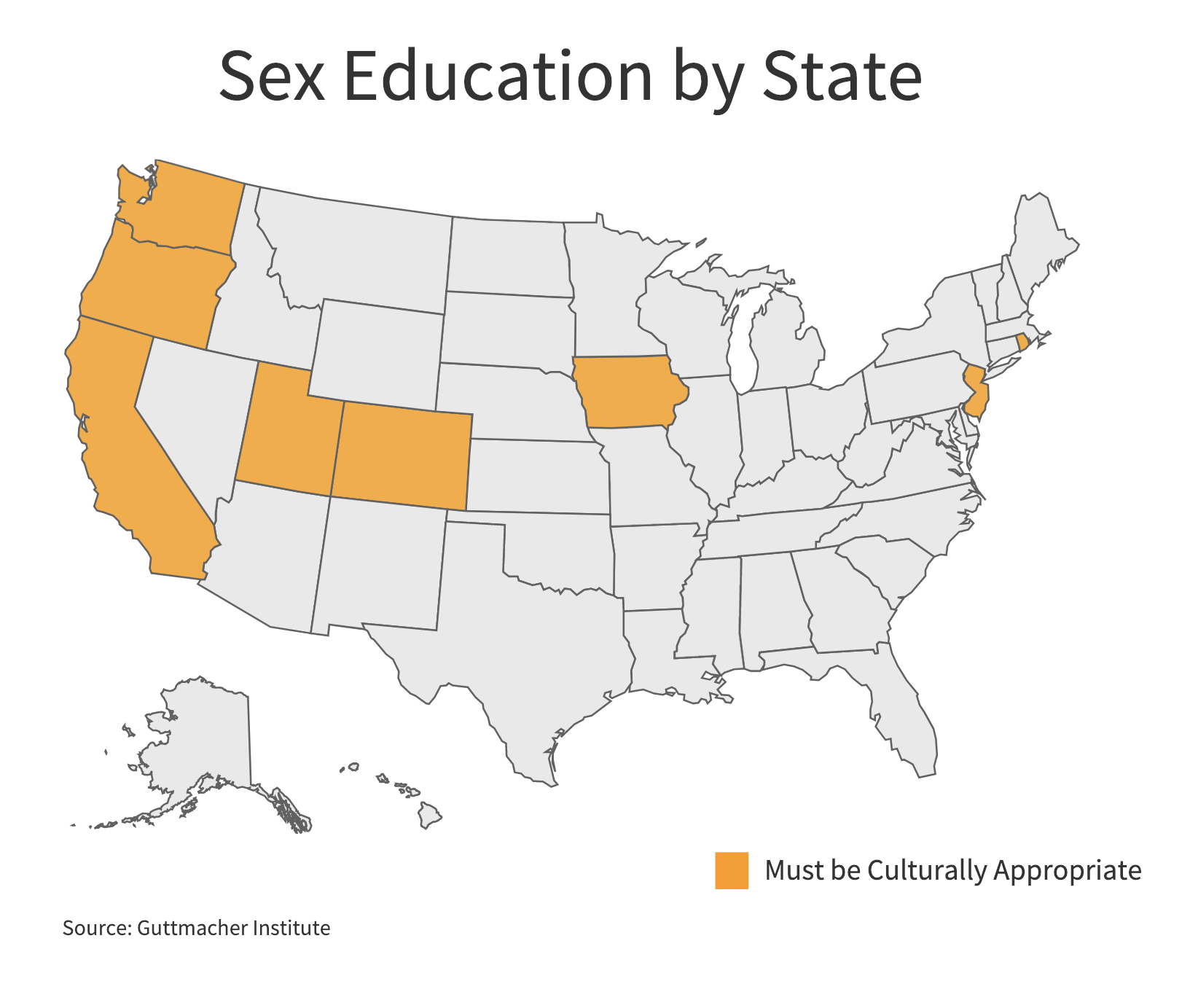 Eight states require that when sexual education is provided it be culturally appropriate and unbiased. (Charts by Ester Wells/MNS)
